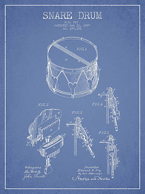 Vintage Snare Drum Patent Drawing From 1889 - Light Blue Print by Aged Pixel
