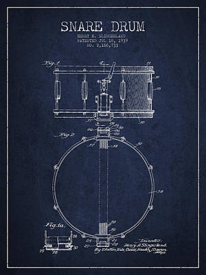 Drum Digital Art - Snare Drum Patent Drawing From 1939 - Blue by Aged Pixel