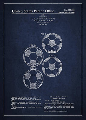 Antique Drawing - Vintage Soccer Ball Patent Drawing From 1964 by Aged Pixel