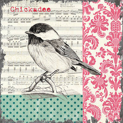 Pink Flower Branch Painting - Vintage Songbird 3 by Debbie DeWitt