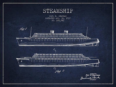 Technical Drawing - Vintage Steamship Patent From 1937 by Aged Pixel