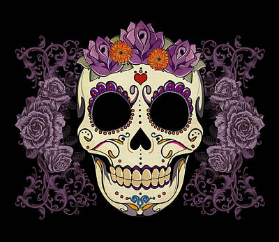 Vintage Sugar Skull And Roses Print by Tammy Wetzel