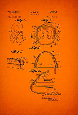 Germ Drawing - Vintage Surgical Mask Patent by Mountain Dreams