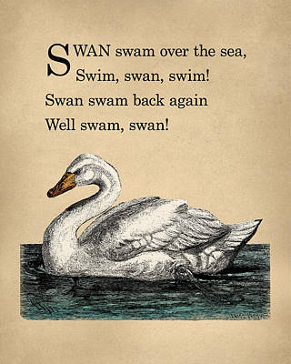 Vintage Swan Nursery Poem Print by Flo Karp