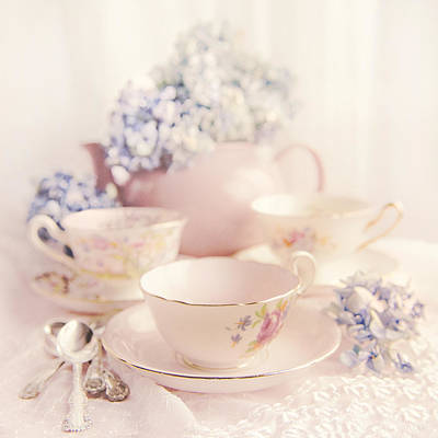 Vintage Teacups Print by Theresa Tahara