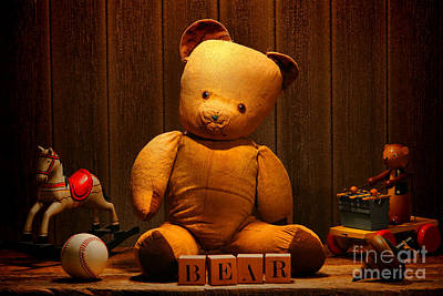 Vintage Teddy Bear And Toys Print by Olivier Le Queinec