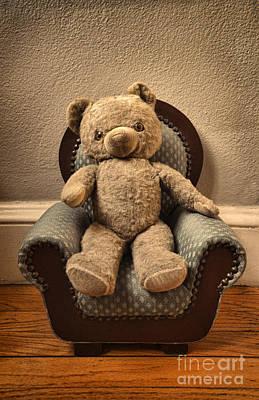 Vintage Teddy Bear In A Chair Print by Jill Battaglia