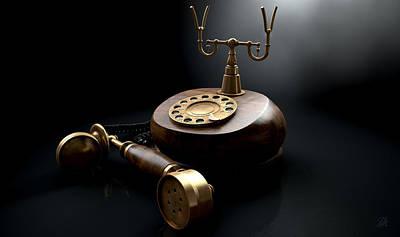 Vintage Telephone Dark Off The Hook Print by Allan Swart