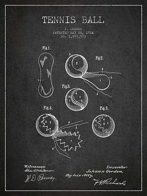Vintage Tennnis Ball Patent Drawing From 1914 Print by Aged Pixel