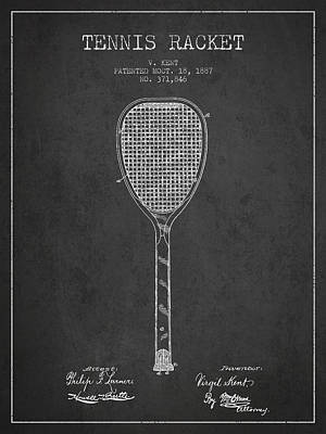 Tennis Digital Art - Vintage Tennnis Racket Patent Drawing From 1887-dark by Aged Pixel