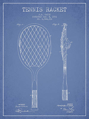 Vintage Tennnis Racket Patent Drawing From 1921 Print by Aged Pixel