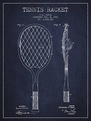 Vintage Tennnis Racket Patent Drawing From 1921 - Navy Blue Print by Aged Pixel