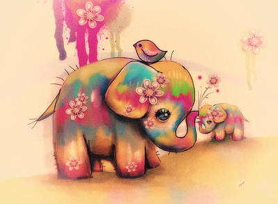 Childhood Digital Art - Vintage Tie Dye Elephants by Karin Taylor