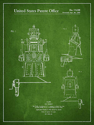 Android Drawing - Vintage Toy Robot Patent Drawing From 1955 - Green by Aged Pixel