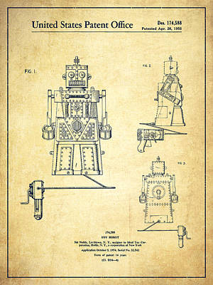 Android Drawing - Vintage Toy Robot Patent Drawing From 1955 - Vintage by Aged Pixel