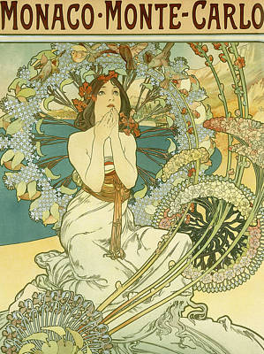 Florals Drawing - Vintage Travel Poster For Monaco Monte Carlo by Alphonse Marie Mucha