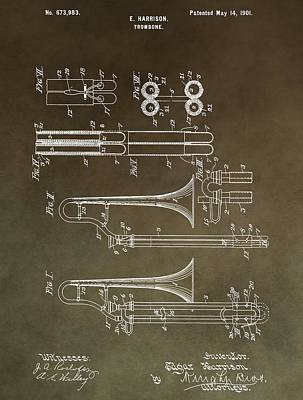 Loud Mixed Media - Vintage Trombone Patent by Dan Sproul