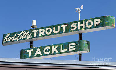 Trout Photograph - Vintage Trout Shop Sign West Yellowstone by Edward Fielding