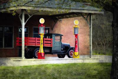 Vintage Truck And Gas Pumps Print by Judy Kennamer
