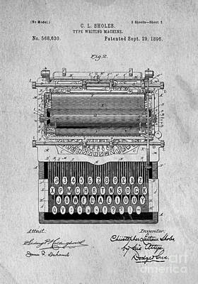 Idea Drawing - Vintage Typewriter Patent Art 1896 by Edward Fielding
