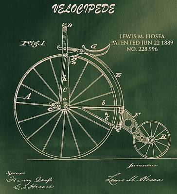 Bicycle Drawing - Vintage Velocipede Patent by Dan Sproul
