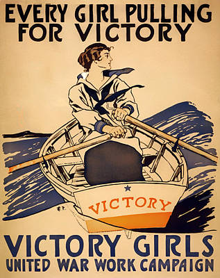 Rowboat Mixed Media - Vintage Victory Girls World War I Poster 1918 by Mountain Dreams