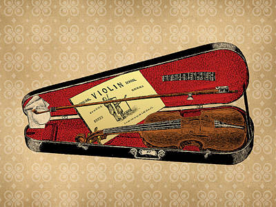Violin Digital Art - Vintage Violin Illustration by Flo Karp