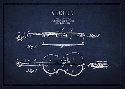 Vintage Violin Patent Drawing From 1928 Print by Aged Pixel