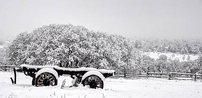 Vintage Wagon In Snow And Fog Filled Valley Print by Gary Whitton