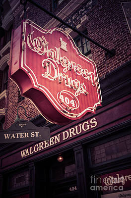 Amusements Photograph - Vintage Walgreen Drugs Store Neon Sign by Edward Fielding