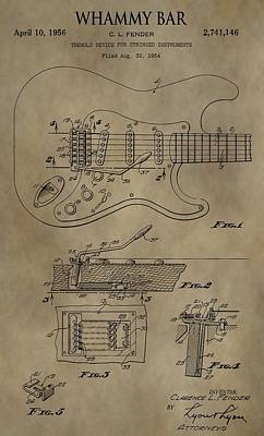 Guitar Mixed Media - Vintage Whammy Bar Patent by Dan Sproul