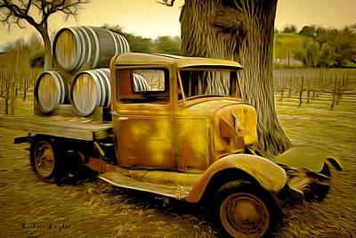 Barrel Painting - Vintage Wine Vintage Truck by Barbara Snyder
