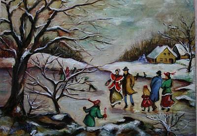 Vintage Winter Scene/skating Away Original by Melinda Saminski