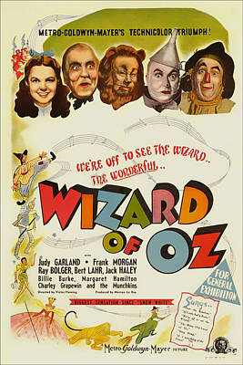 Wizard Drawing - Vintage Wizard Of Oz Movie Poster 1939 by Mountain Dreams