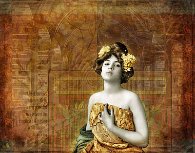 Digital Altered Photograph - Vintage Woman In Library by Cat Whipple