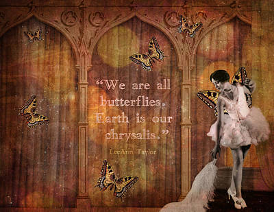 Vintage Woman We Are All Butterflies Print by Cat Whipple