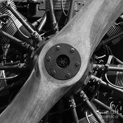 Wing Tong Photograph - Vintage Wood Propeller - 7d15828 - Square - Black And White by Wingsdomain Art and Photography