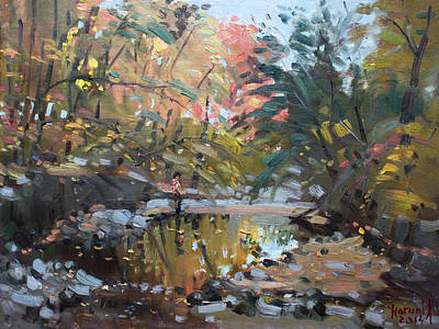 Autumn Landscape Painting - Viola At The Creek by Ylli Haruni