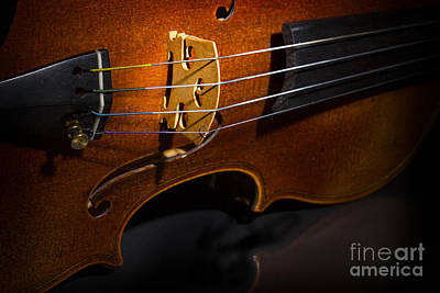 Viola Violin On Tabletop String Bridge In Color 3077.02 Print by M K  Miller