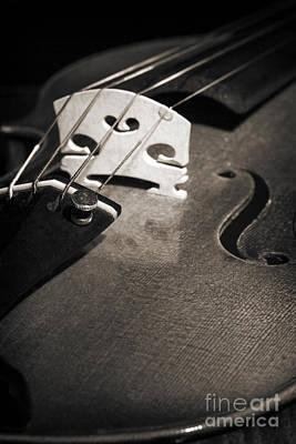 Music Photograph - Viola Violin String Bridge Close In Sepia 3075.01 by M K  Miller