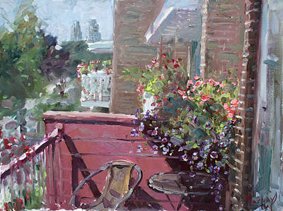 Chairs Painting - Viola's Balcony by Ylli Haruni