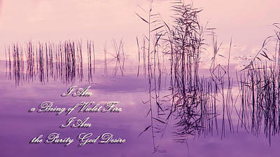 Violet Fire Mantra Words Print by Jenny Rainbow