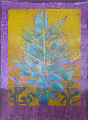 Leaf Stencil Mixed Media - Violet Vision by Karen Coggeshall