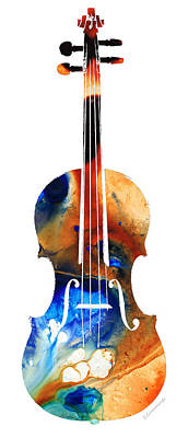 Violin Art By Sharon Cummings Print by Sharon Cummings