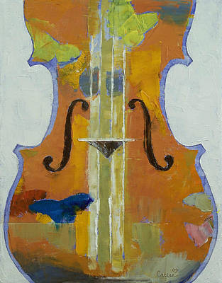 Impasto Oil Painting - Violin Butterflies by Michael Creese