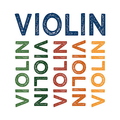 Violin Cute Colorful Print by Flo Karp