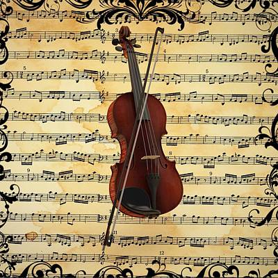 Violin Digital Art - Violin  by Louis Ferreira