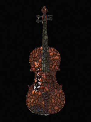 Violin Digital Art - Violin Mosaic by Flo Karp