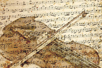 Old Sheet Music Mixed Media - Violin Musical Note Background by Gregory DUBUS