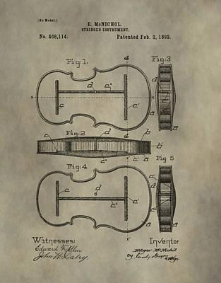 Violin Mixed Media - Violin Patent by Dan Sproul